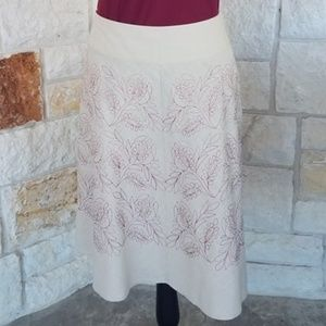 Gorgeous Creme A-line Skirt with Floral Detail